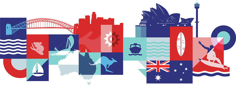 Attractions Photograph - Illustration Of Tourist Attractions In Australia by Fanatic Studio / Science Photo Library