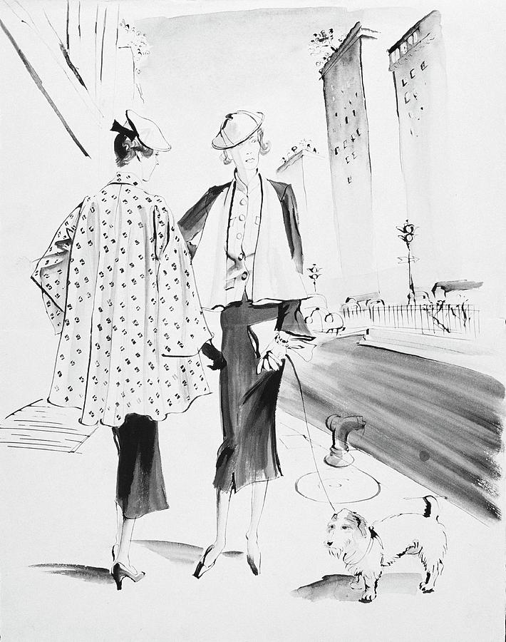 Illustration Of Two Fashionable Women Digital Art by Rene Bouet-Willaumez