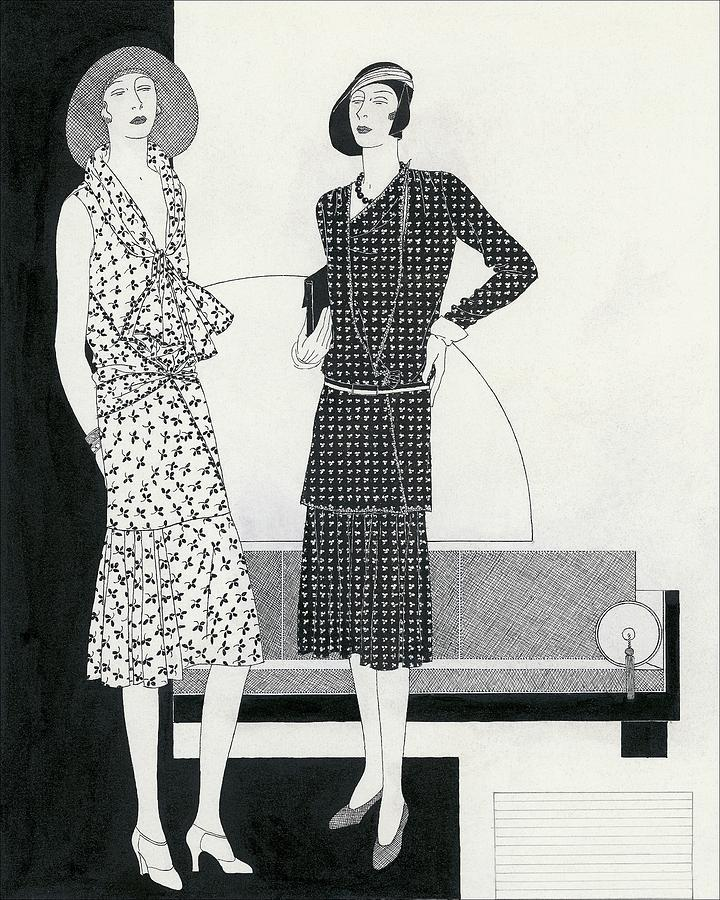 Illustration Of Two Models Wearing Dresses Digital Art by Polly Tigue Francis