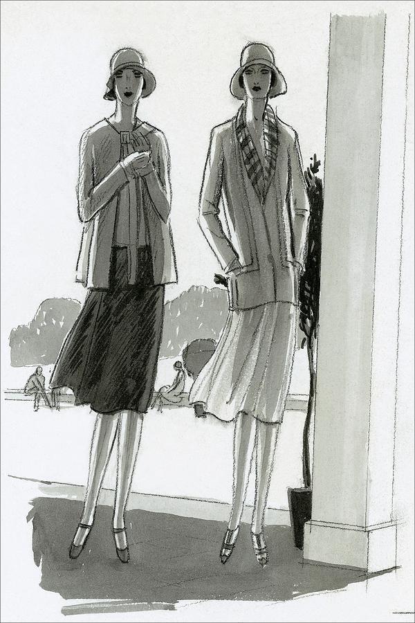 Illustration Of Two Women Standing In A Shadow Digital Art by Porter Woodruff