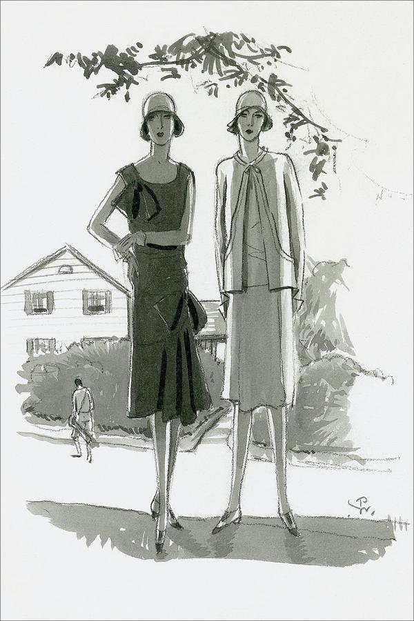 Illustration Of Two Women Standing In Shadow Digital Art by Porter Woodruff