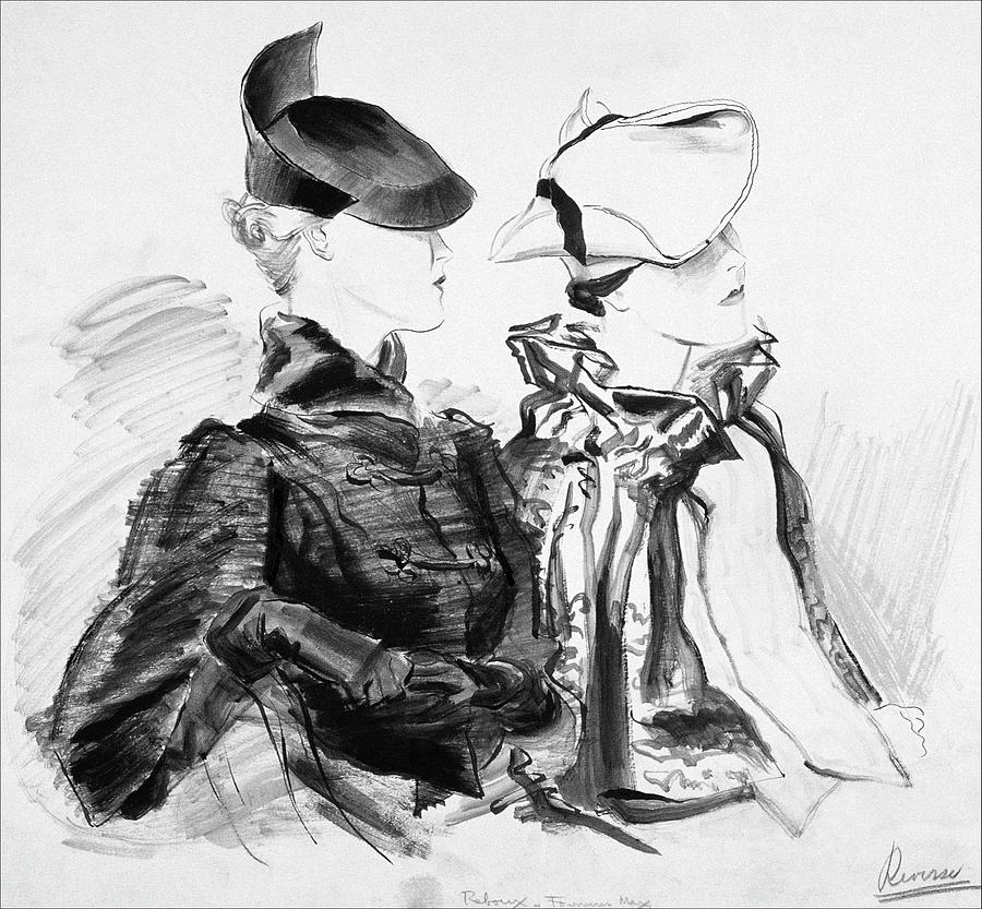 Illustration Of Two Women Wearing Berets And Capes Digital Art by Rene Bouet-Willaumez