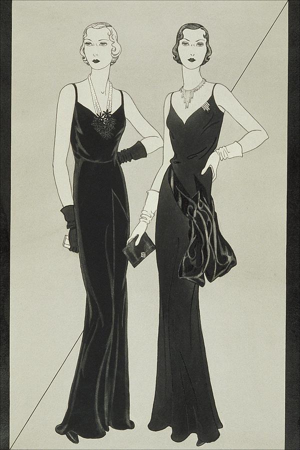 Illustration Of Two Women Wearing Mainbocher Digital Art by Douglas Pollard