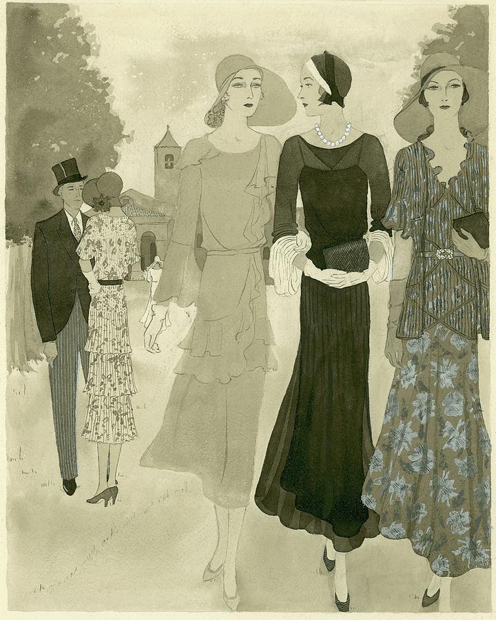 Illustration Of Wedding Guests At A Country Digital Art by Barbara E. Schwinn
