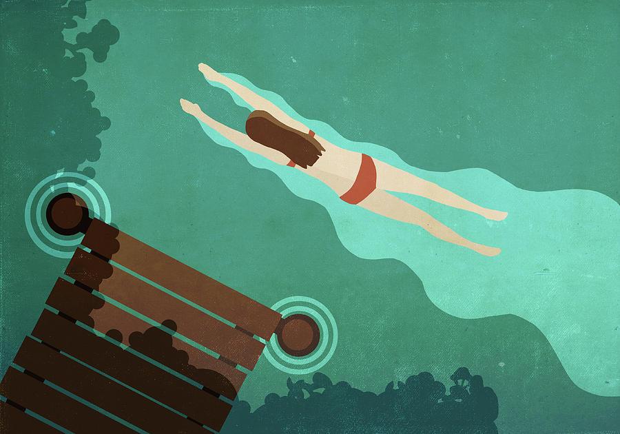 Illustration Of Woman Swimming In Lake Digital Art by Malte Mueller