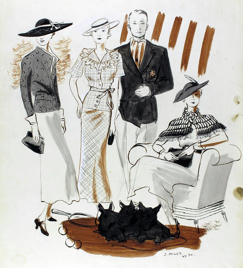Illustration Of Women And A Man In Country Club Digital Art by Jean Pages
