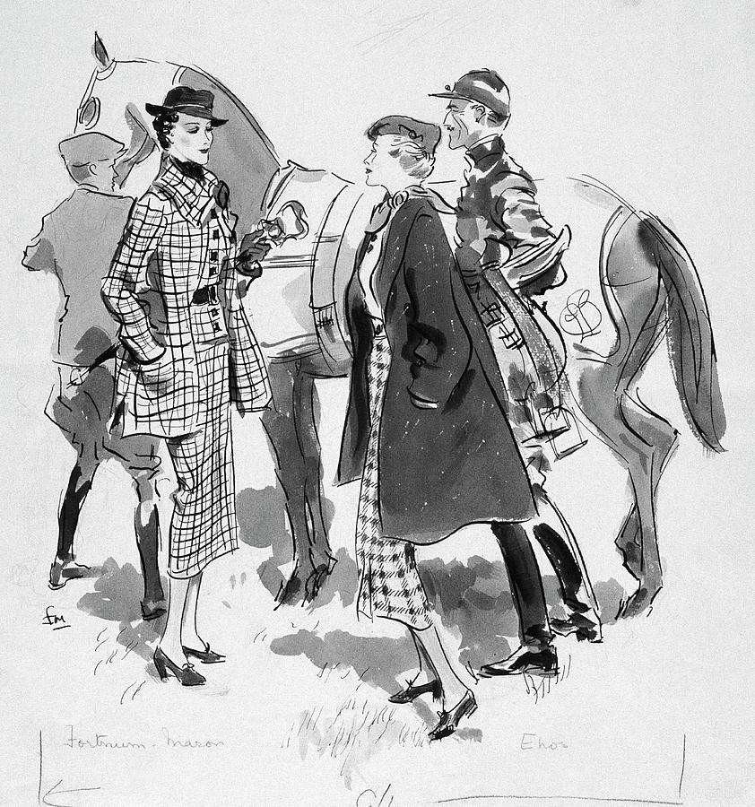 Illustration Of Women Standing In Front Of Racing Digital Art by Francis Marshall