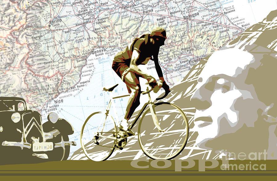 Fausto Coppi Digital Art - Illustration print Giro de Italia Coppi vintage map cycling by Sassan Filsoof