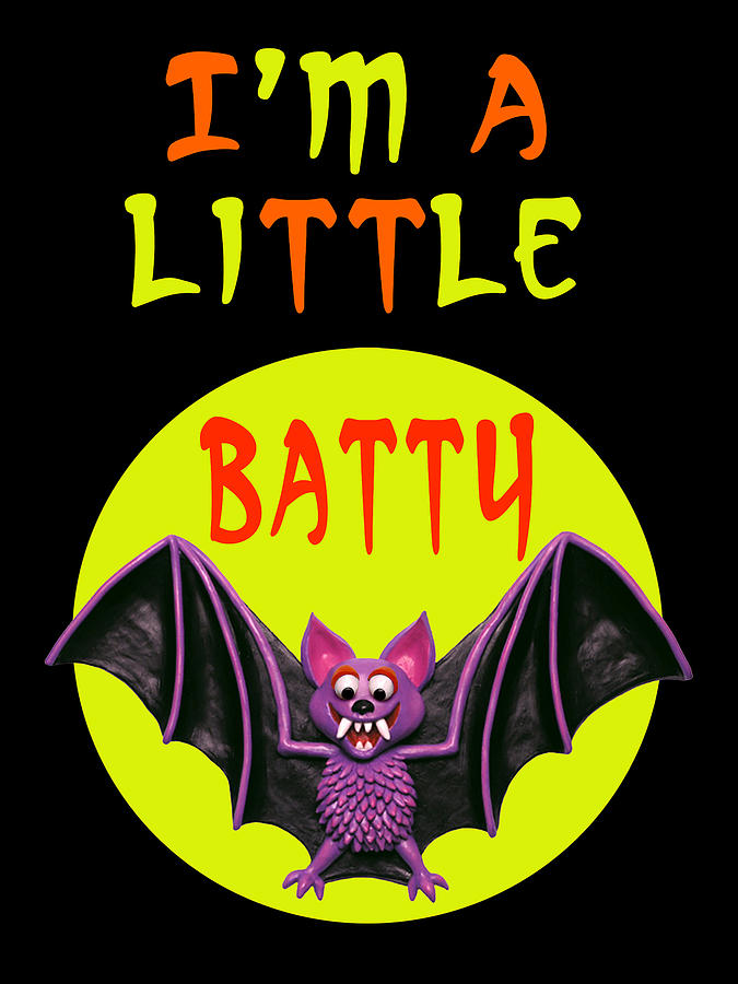 Card Digital Art - Im A Little Batty by Amy Vangsgard