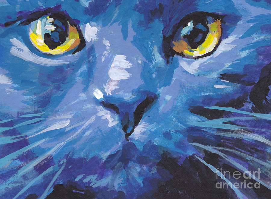 Russian Blue Cat Painting - Im Blue by Lea S