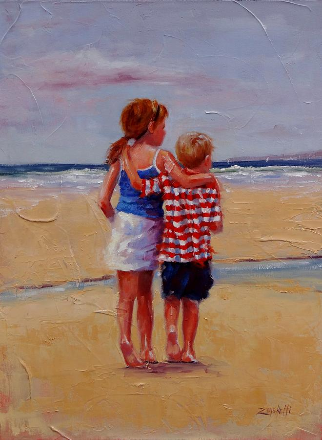 Children Painting - Im Coming Too by Laura Lee Zanghetti