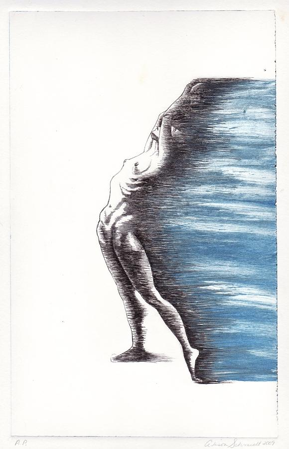 Figure Drawing - Im Free Now In Blue by Alison Schmidt Carson