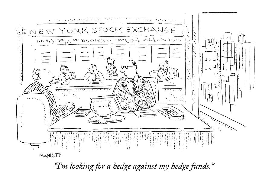 Im Looking For A Hedge Against My Hedge Funds Drawing by Robert Mankoff