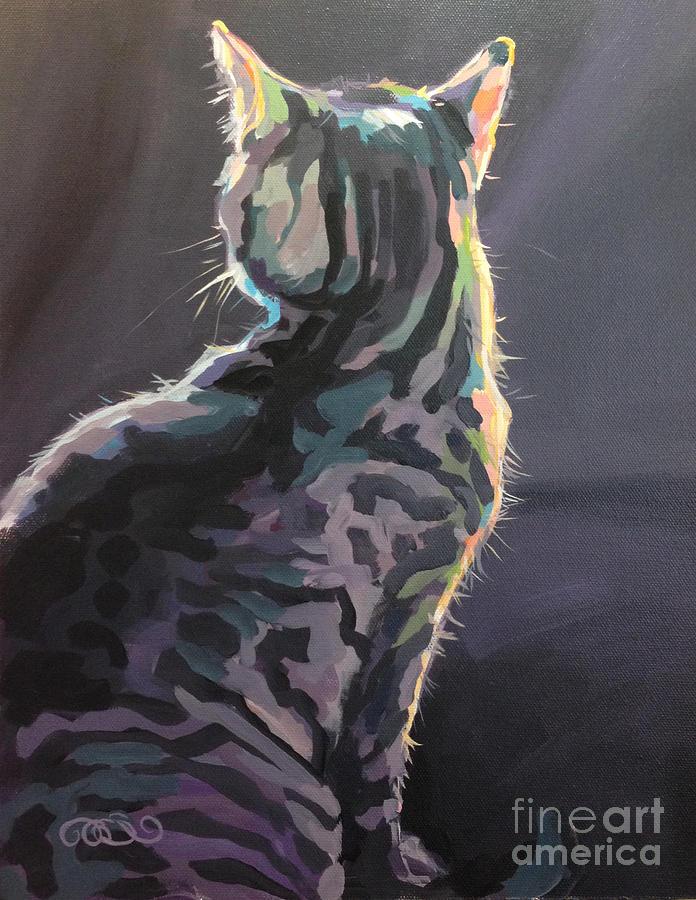 Gray Tabby Painting - Im Not Listening by Kimberly Santini