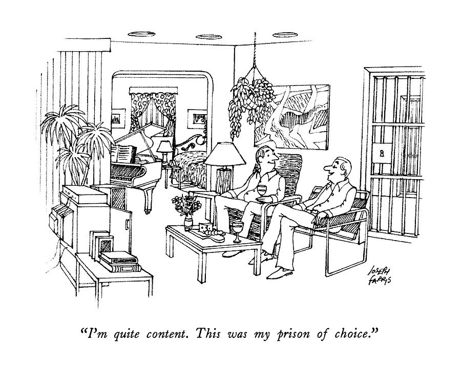 Im Quite Content.  This Was My Prison Of Choice Drawing by Joseph Farris