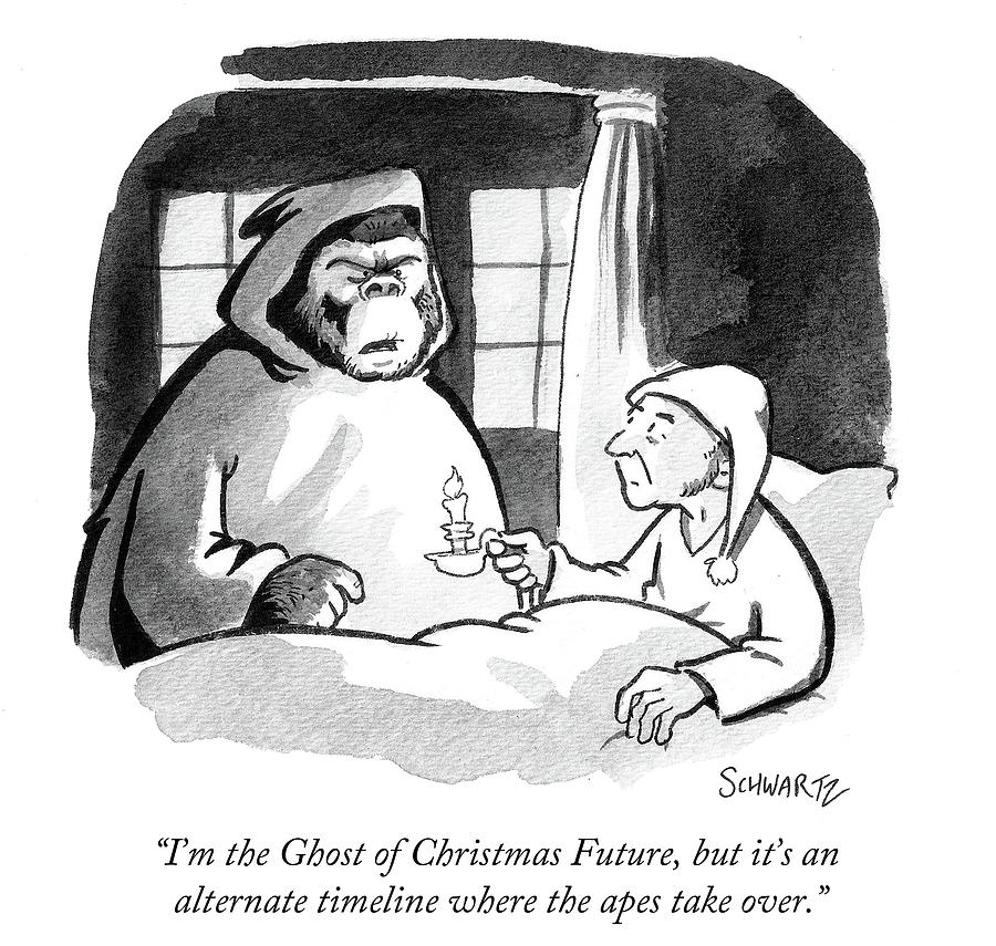 Cartoon Drawing - Im The Ghost Of Christmas Future by Benjamin Schwartz
