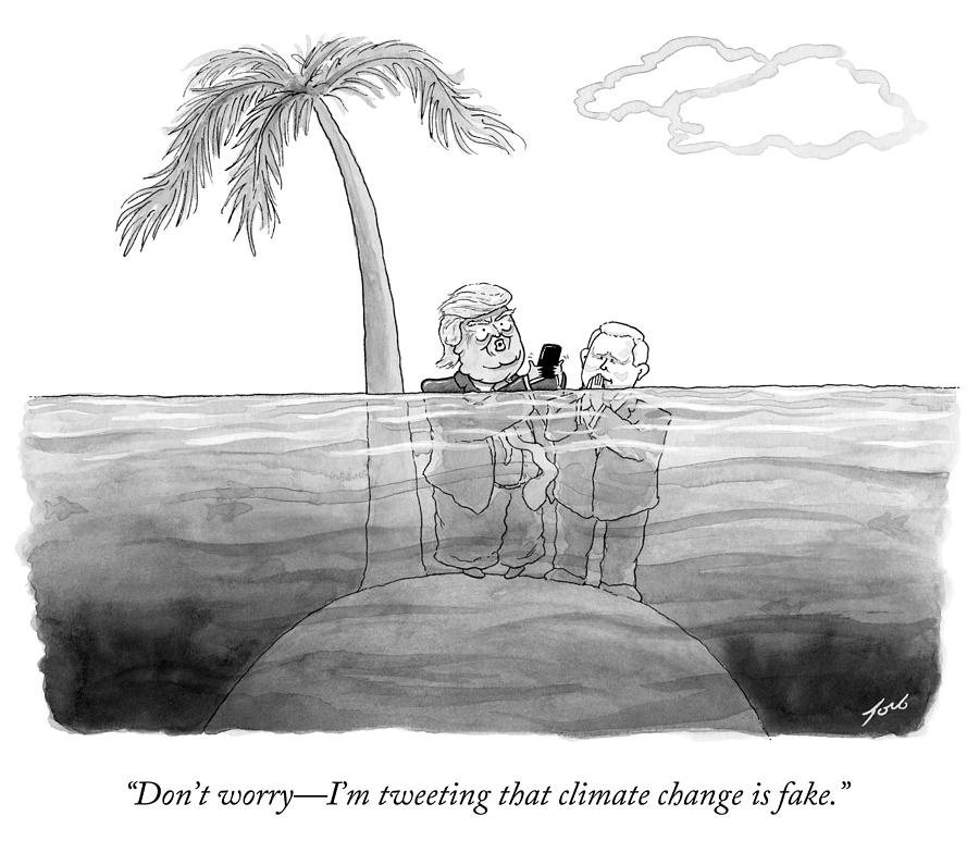 Cartoon Drawing - Im Tweeting That Climate Change Is Fake by Tom Toro