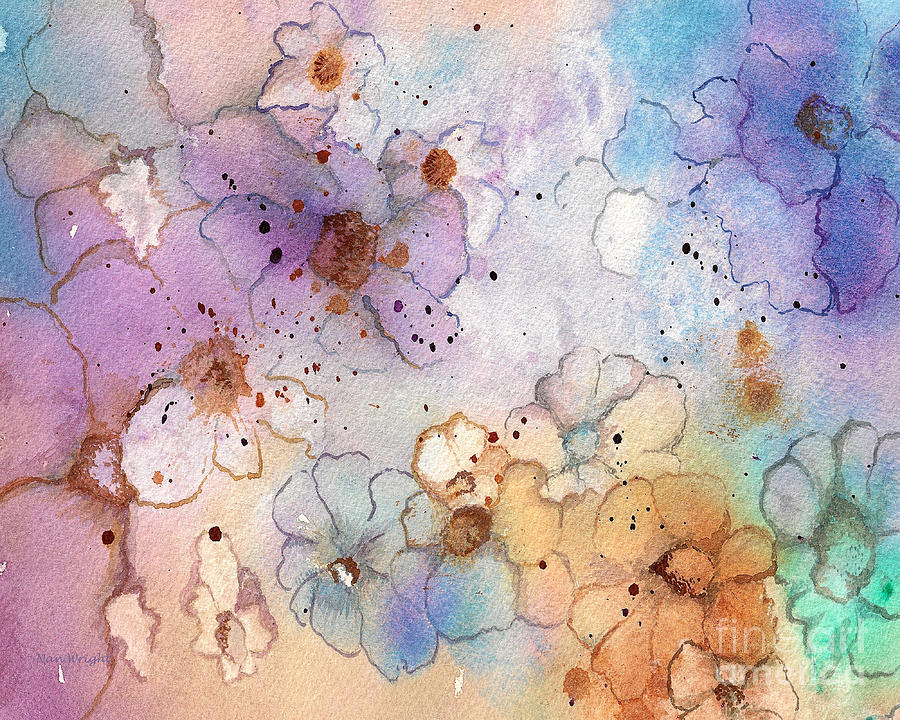 Abstract Flowers Painting - Imaginary Figments Abstract Flowers by Nan Wright