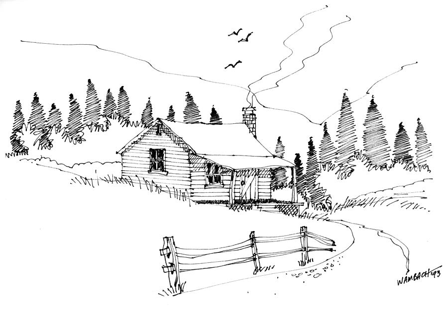 Imagination 1993 mountain cabin drawing by richard wambach Cabin drawings