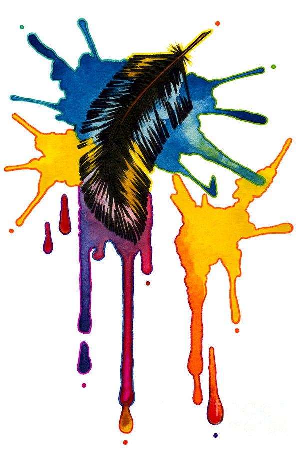 Imagination Imagine Feather Flight Watercolor Watercolour Ink Splatter Splat Magic Magical Dream Dreaming Blue Green Purple Pink Orange Yellow Black Painting - Imaginations Flight by Nora Blansett