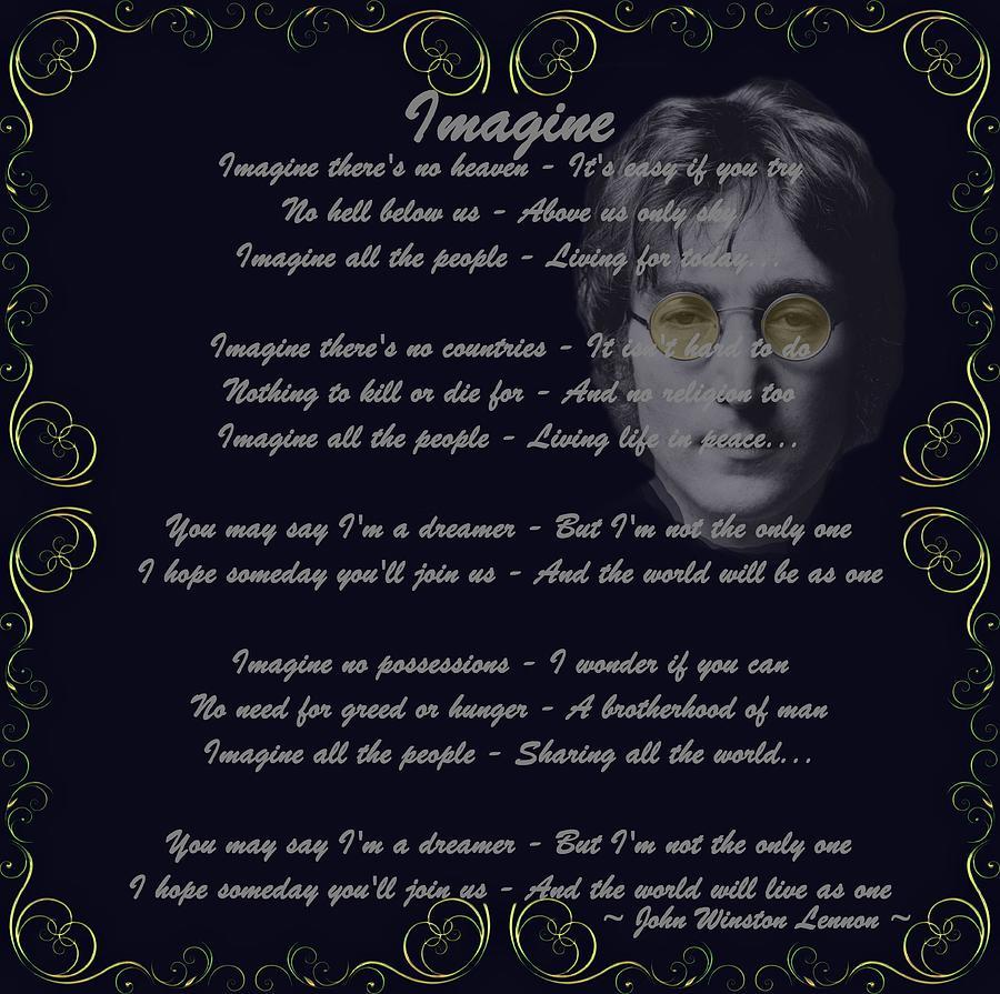 John Lennon Digital Art - Imagine Golden Scroll by Movie Poster Prints