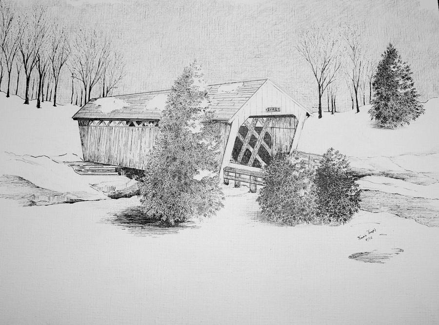 Ink Drawing - Imes Snow Bridge by Tammie Temple