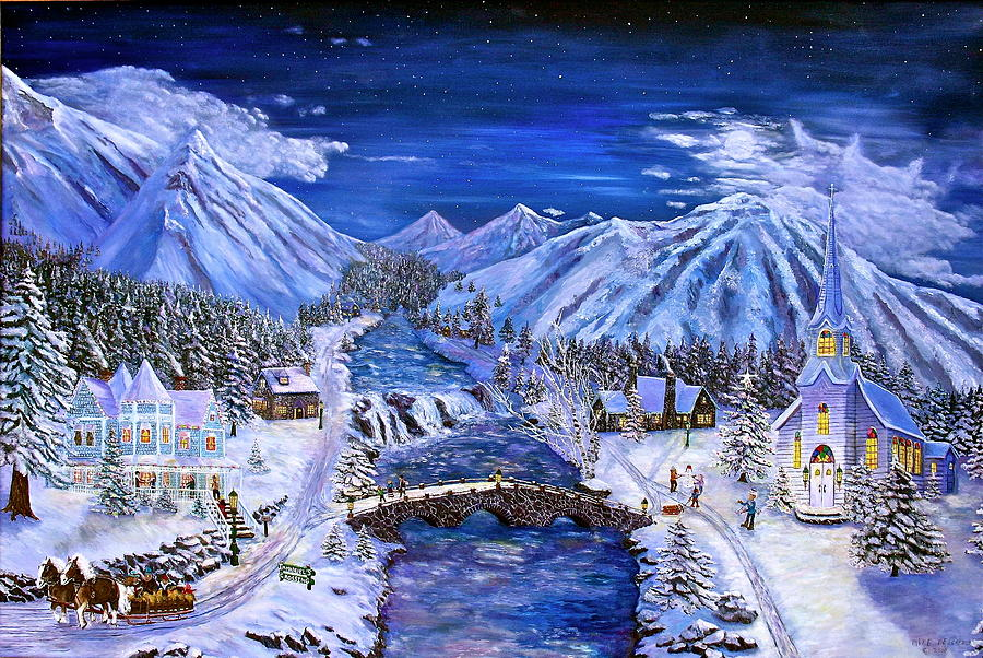 Christmas Painting - Immanuels Crossing by Mike De Lorenzo