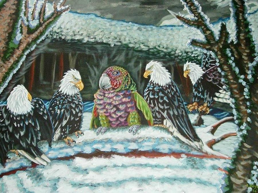 Sisserou Parrot Painting - Immigrant by Lowell Royer