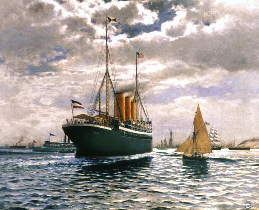 1893 Painting - Immigrant Ship, 1893 by Granger