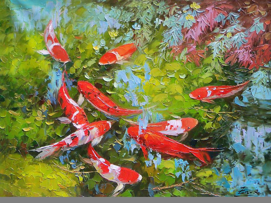 Koi Fish Painting - Impasto Oil Painting Koi Fish by Enxu Zhou