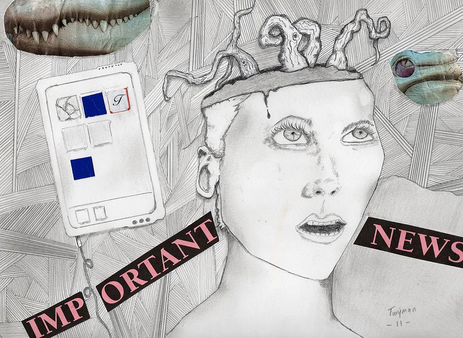 Surreal Mixed Media - Important News by Dan Twyman