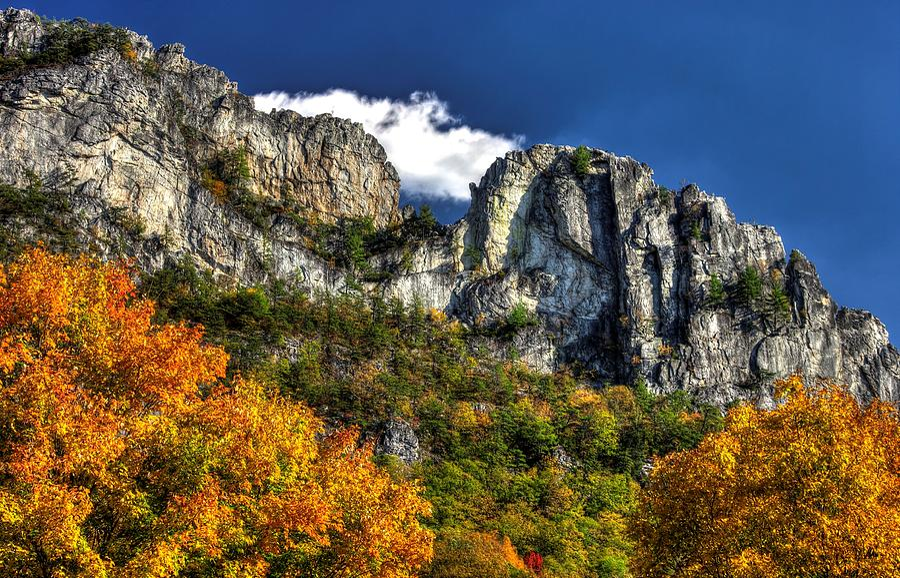 West Virginia Photograph - Imposing Seneca Rocks - Seneca Rocks National Recreation Area Wv Autumn Mid-afternoon by Michael Mazaika