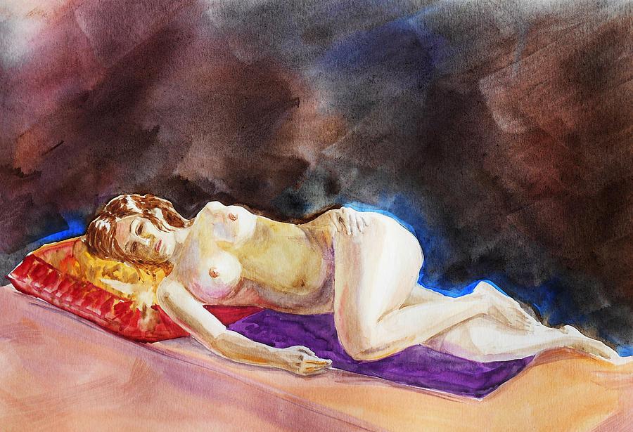 Nude Painting - Impressionism Of Reclining Nude by Irina Sztukowski