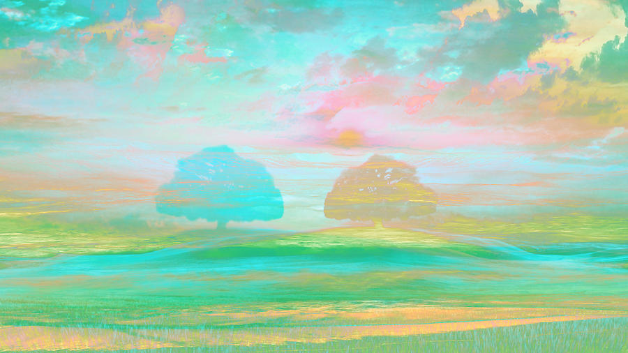 Impressionism Digital Art - Impressionism Trees Pastel by Mary Clanahan