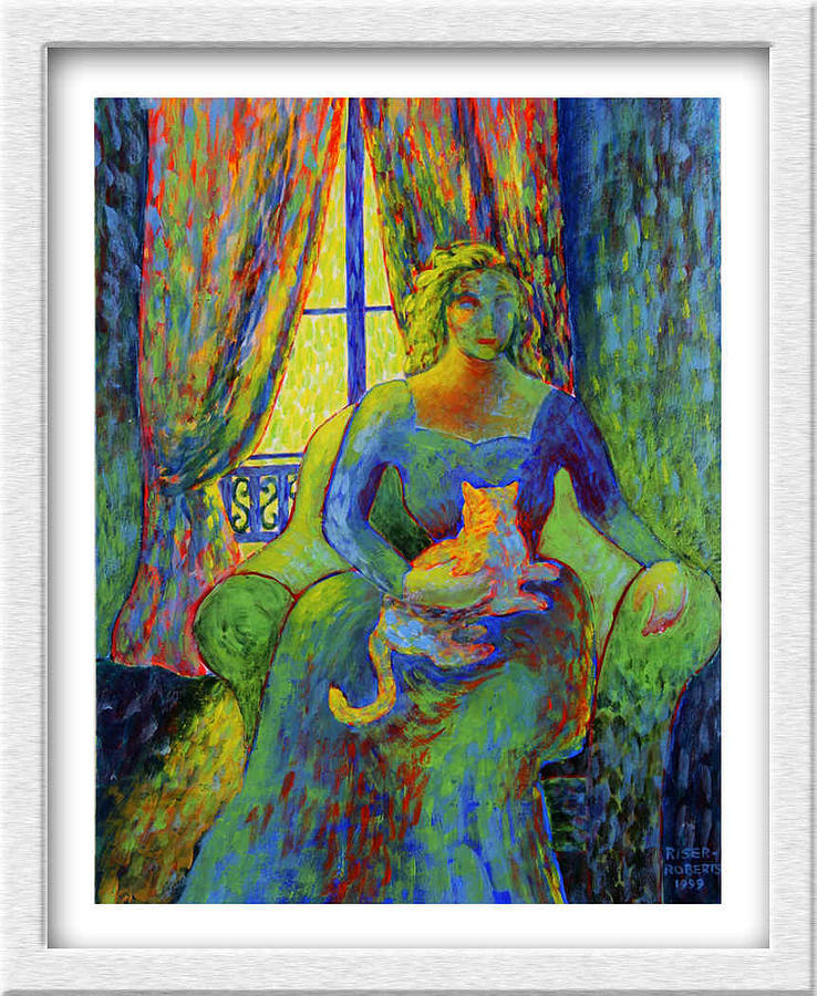 Impressionist Style Cat Paintings Painting - Impressionist Woman And Cat by Eve Riser Roberts