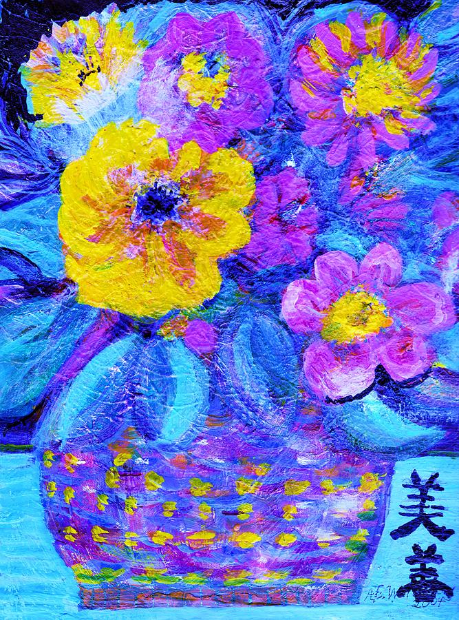 Blues Painting - Impressionistic Floral With Blues And Chinese Characters by Anne-Elizabeth Whiteway