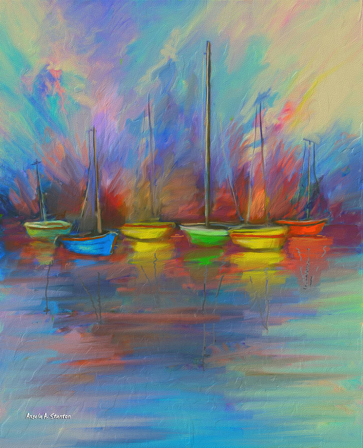 Sailboat Painting - Impressions Of A Newport Beach Sunset by Angela A Stanton