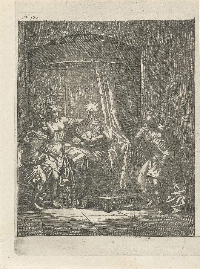 In A Dark Bedroom Is Aristodemus Prince Of Cuma Bed Drawing By