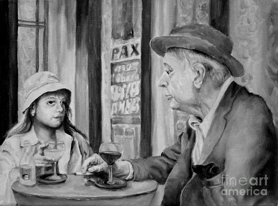 Cafe Painting - In A Parisian Cafe by Diane Kraudelt