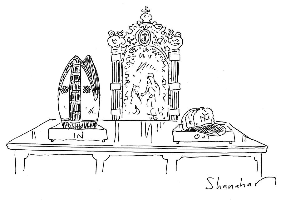 In Drawing - In And Out Boxes With Popes Mitre And Yankees Cap by Danny Shanahan