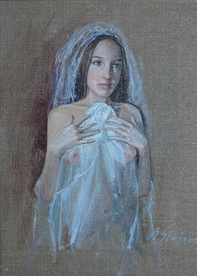 Nude Girl Painting - In Attesa Di Lui by Sefedin Stafa