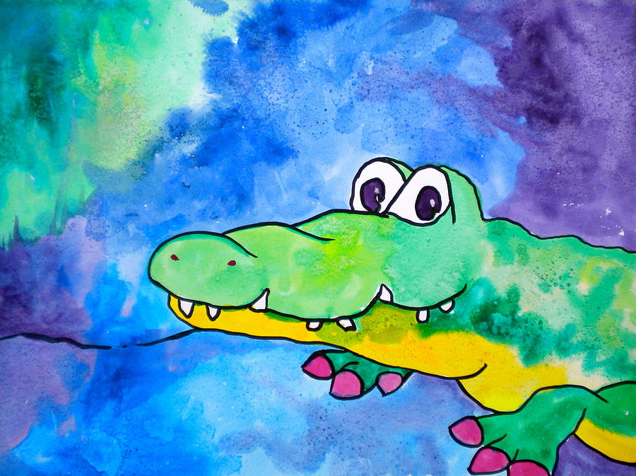 In Awhile Crocodile Painting - In Awhile Crocodile by Debi Starr