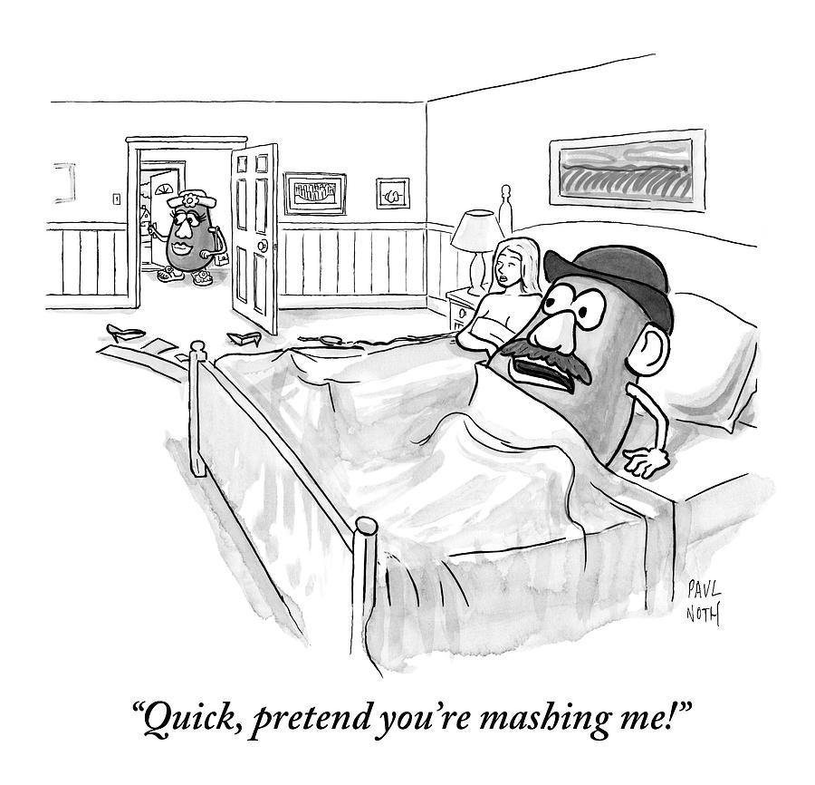 In Bed With A Human Woman Drawing by Paul Noth