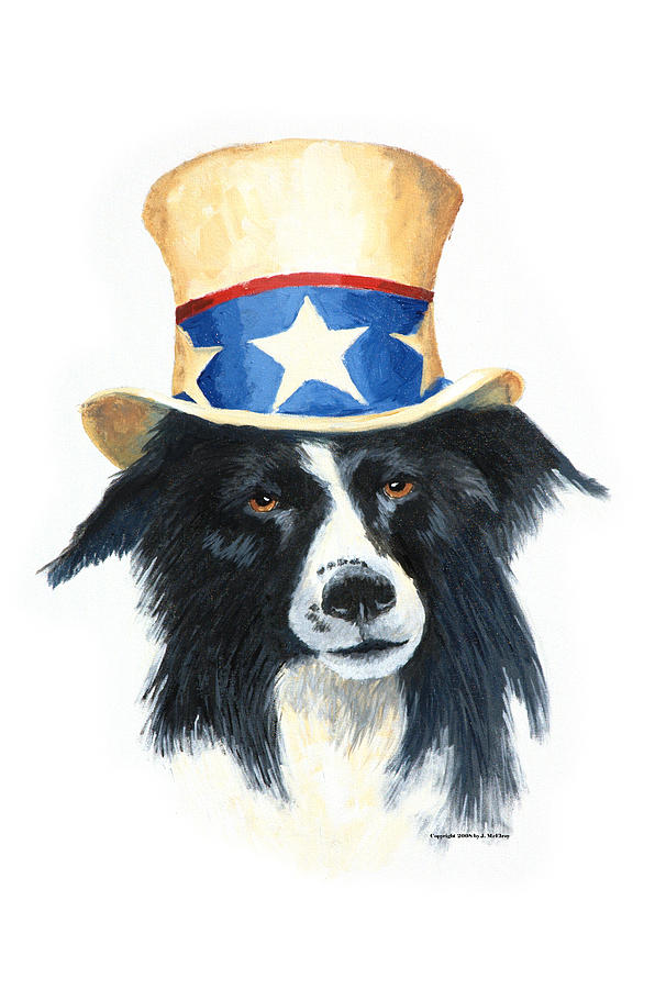 Dog Painting - In Dog We Trust by Jerry McElroy