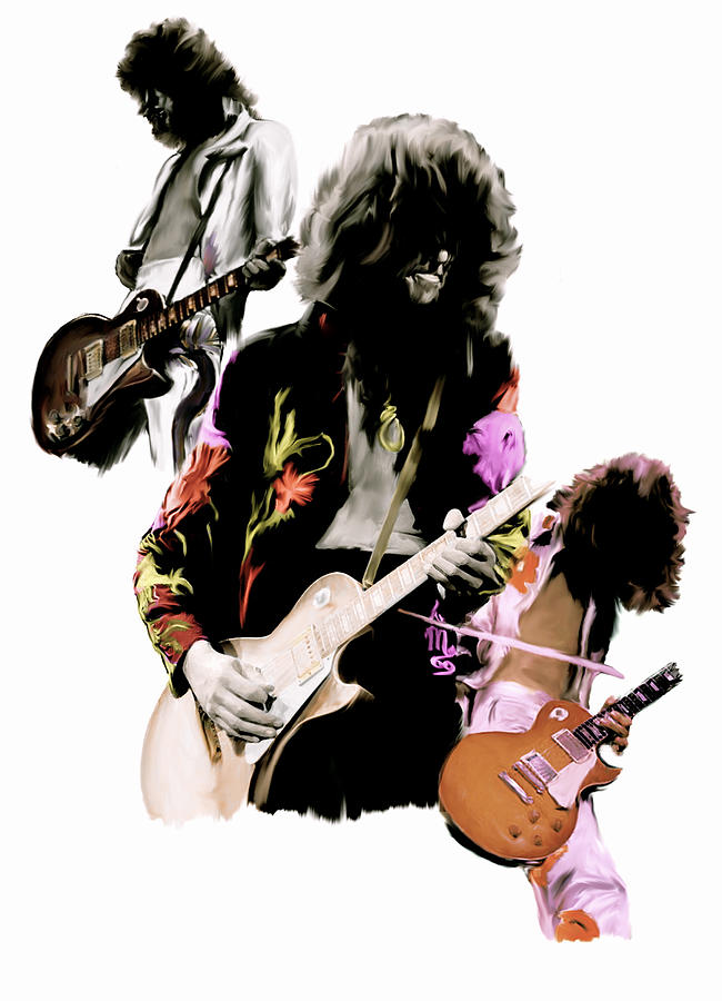 In Flight Iv Jimmy Page  Painting by Iconic Images Art Gallery David Pucciarelli