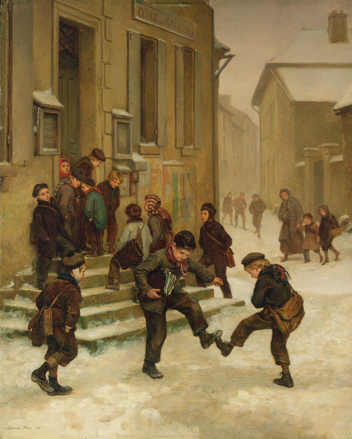 Schoolboy Painting - In Front Of The School by Charles Edouard Frere