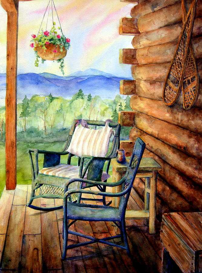 Rocking Chair Painting - In Good Company by Mary Giacomini