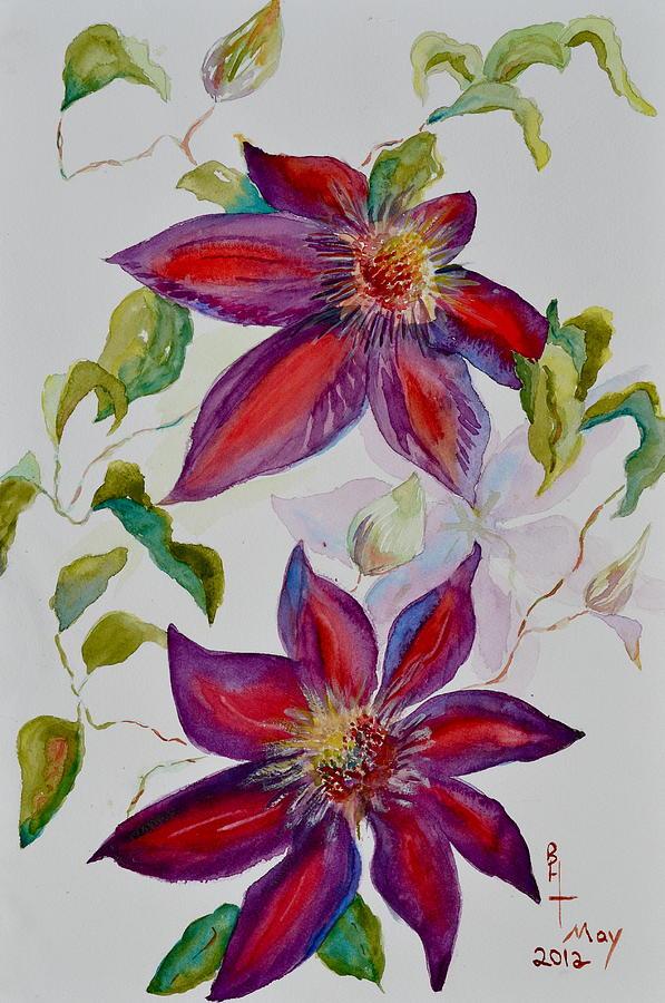 Clematis Painting - In Grandpas Garden by Beverley Harper Tinsley