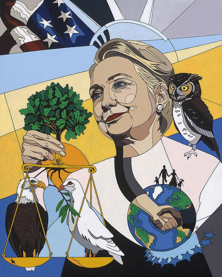 American Flag Painting - In Honor Of Hillary Clinton by Konni Jensen