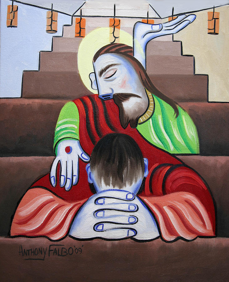 Christian Framed Prints Painting - In Jesus Name by Anthony Falbo